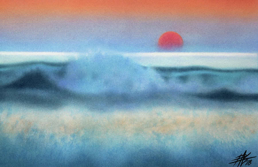 Landscape Painting - Setting Sun, Waves of Glass by Robin Street-Morris
