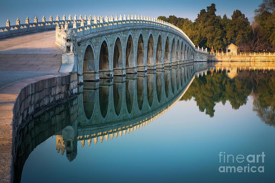 Asia Photograph - Seventeen Arch Bridge by Inge Johnsson