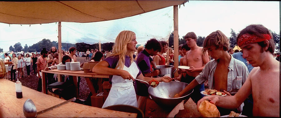 People Photograph - Several Young People Dishing Out Food To by John Dominis