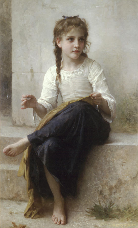 Sewing by Adolphe-William Bouguereau by Portraits By NC