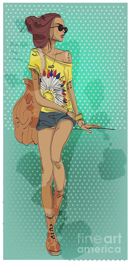 Feather Digital Art - Sexy Fashion Girl In Sketch Style by Elena Barenbaum