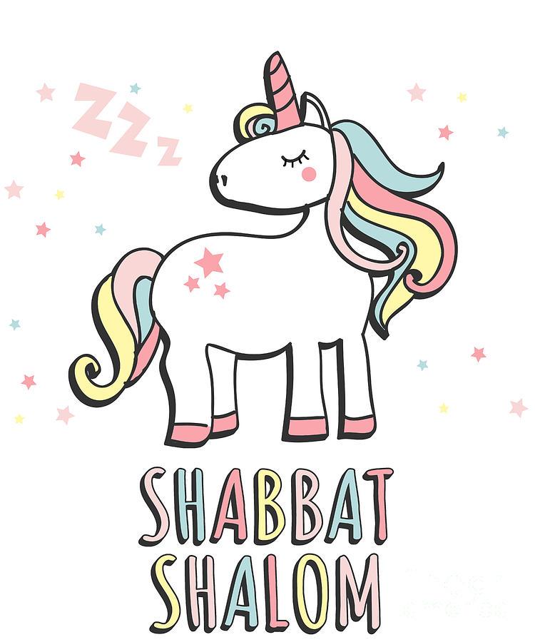 Shabbat Shalom Jewish Unicorn  by Flippin Sweet Gear