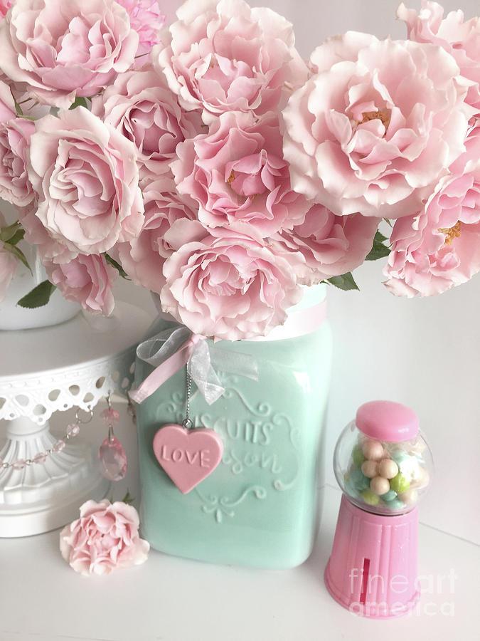 Super Shabby Chic Pink Roses In Aqua Mason Jar Romantic Cottage Floral Print Home Decor Interior Design Ideas Lukepblogthenellocom