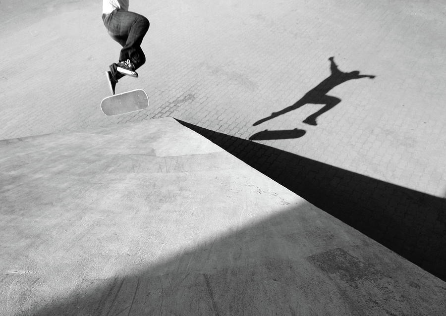 Shadow Of Skateboarder Photograph by Mgs