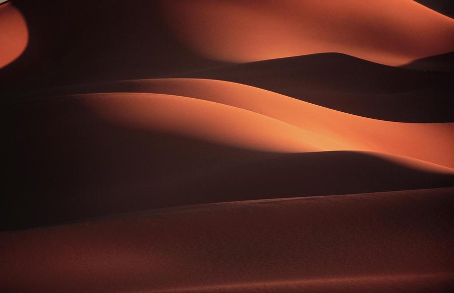 Shadows On The Wan Caza Sand Dunes Near Photograph by Frans Lemmens