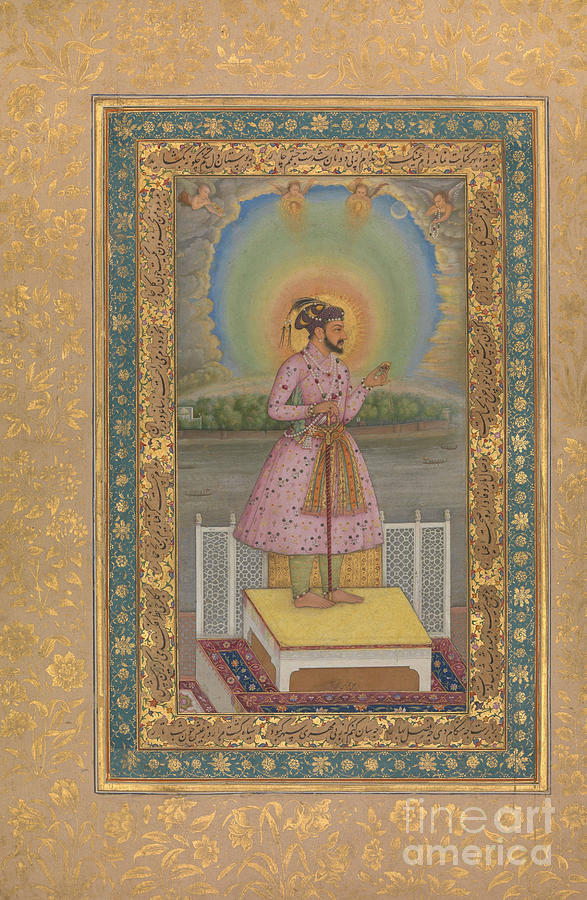Indian Painting - Shah Jahan On A Terrace, Holding A Pendant Set With His Portrait, Folio From The Shah Jahan Album by Chitarman