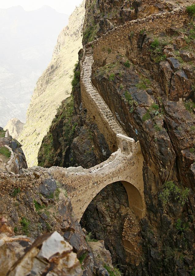 Shahara Bridge In Yemen - Photograph by Eric Lafforgue