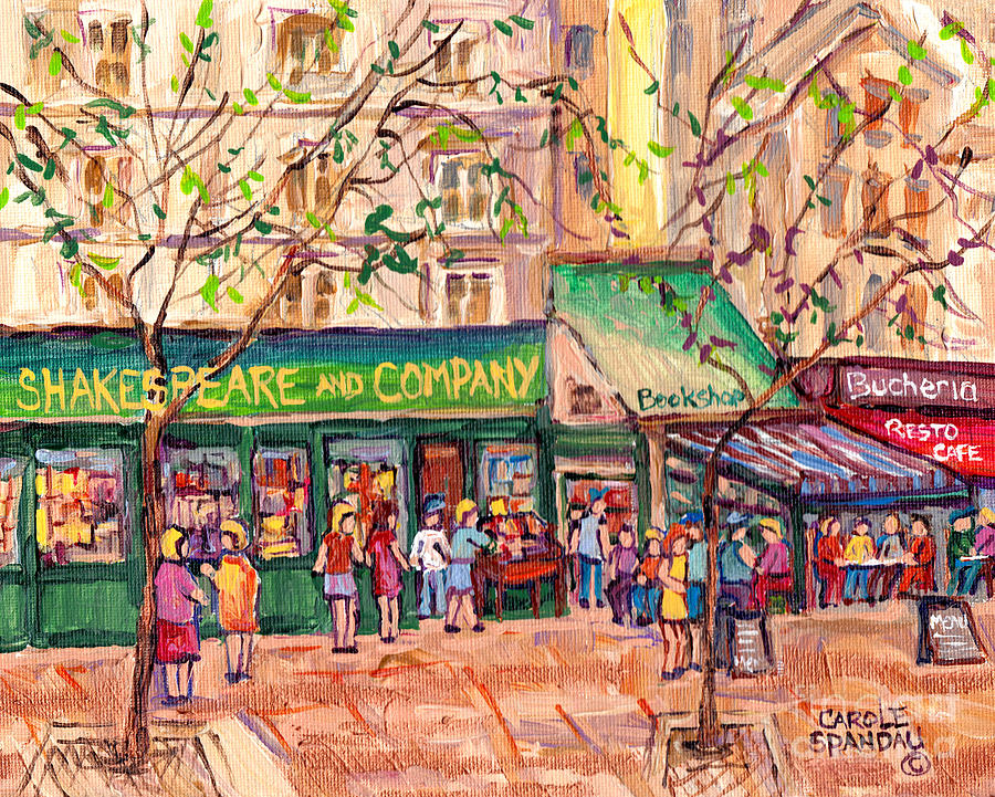 Shakespeare And Company Paris Book Shop Painting French Cafe ...