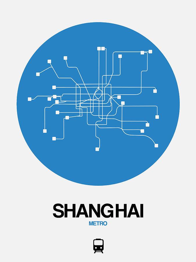 Vacation Digital Art - Shanghai Blue Subway Map by Naxart Studio