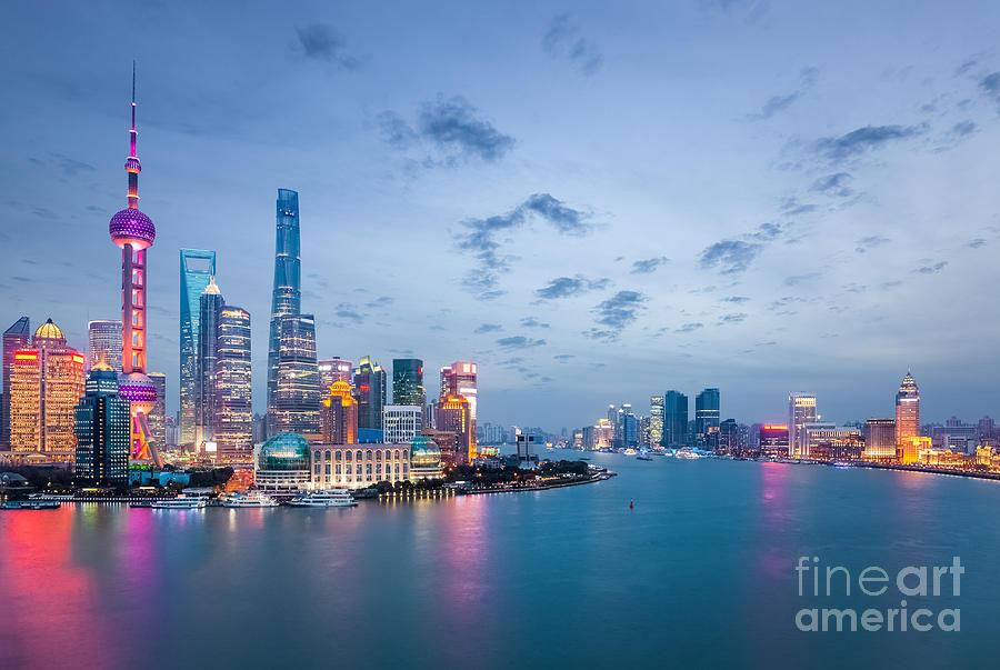 Commercial Photograph - Shanghai In Nightfall, Beautiful by Chuyuss