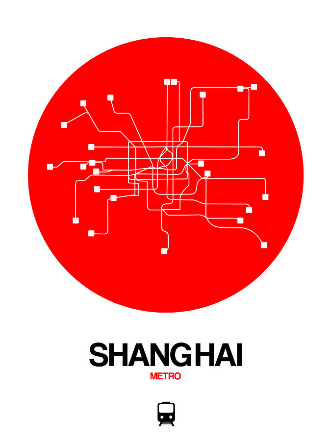 Vacation Digital Art - Shanghai Red Subway Map by Naxart Studio