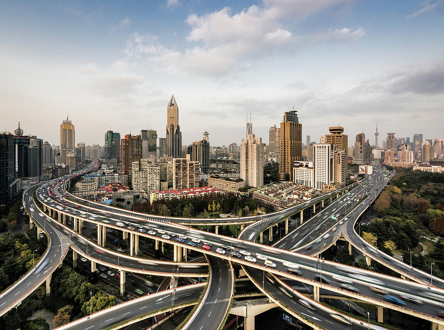Shanghai Skyline And Busy Road Photograph by Martin Puddy