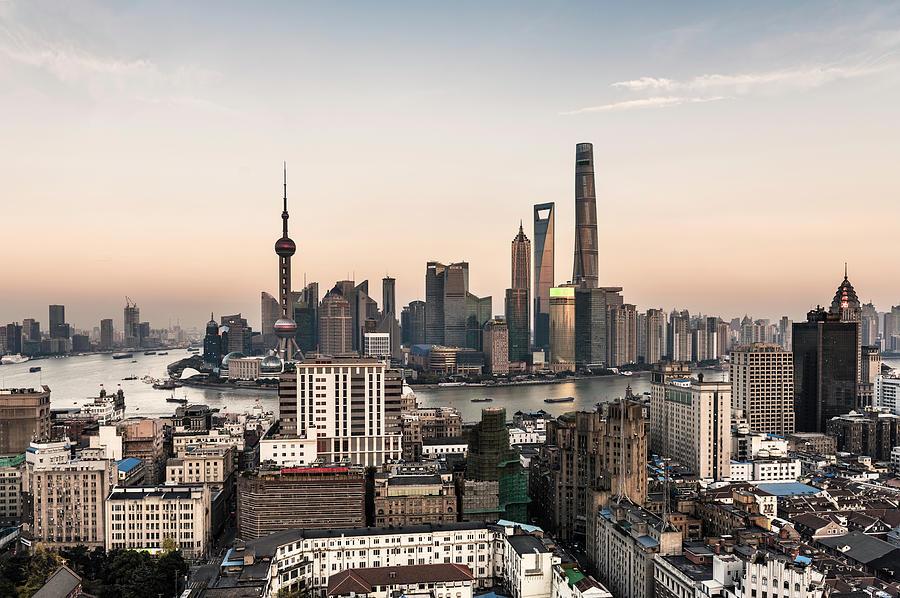 Shanghai Skyline At Dusk Photograph by Martin Puddy