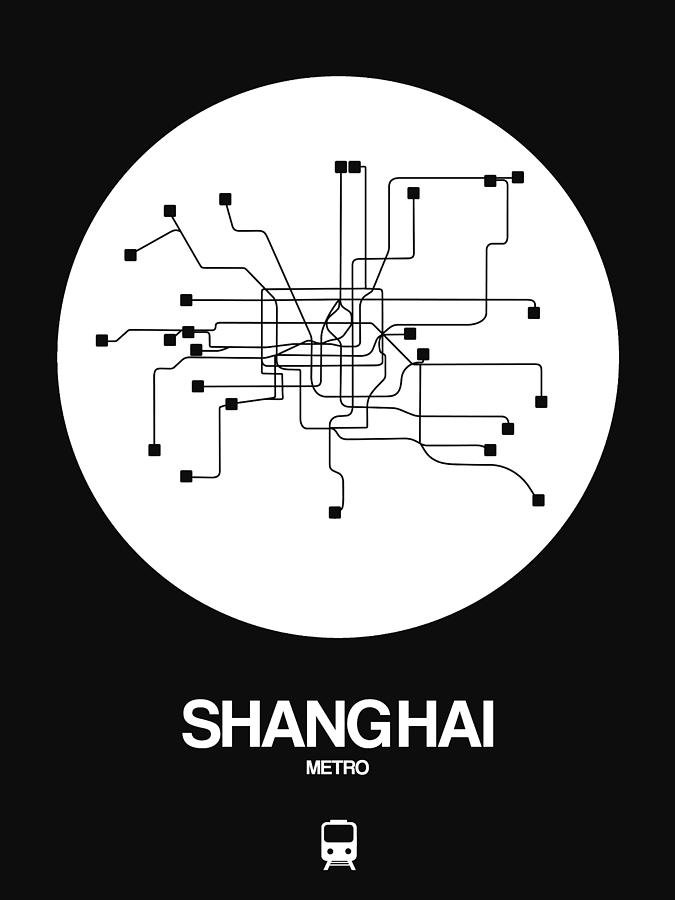 Vacation Digital Art - Shanghai White Subway Map by Naxart Studio