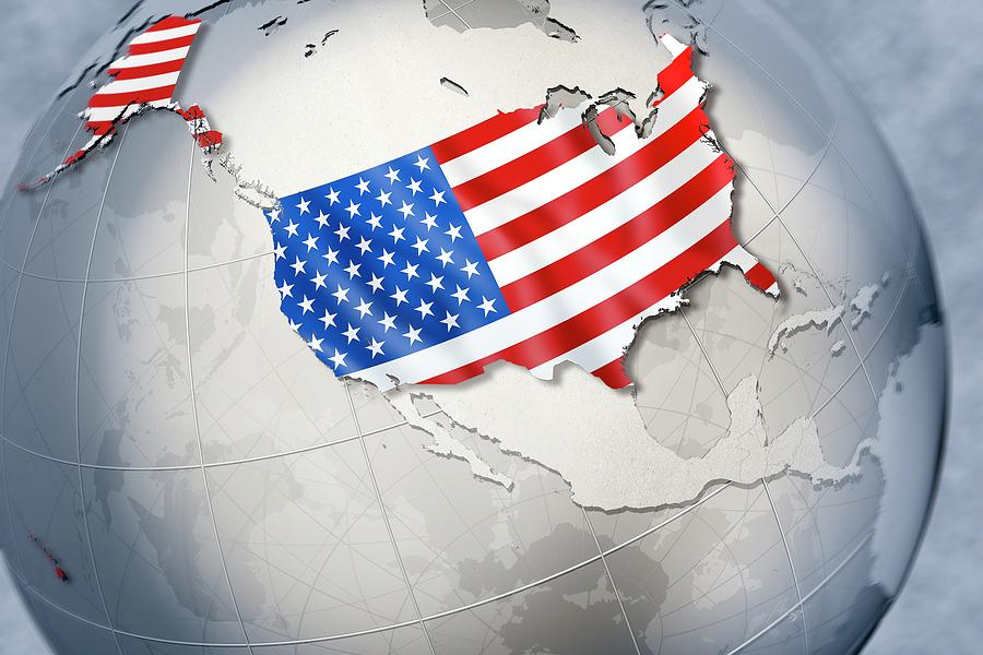 Globe Digital Art - Shape And Ensign Of The Usa On A Globe by Dieter Spannknebel