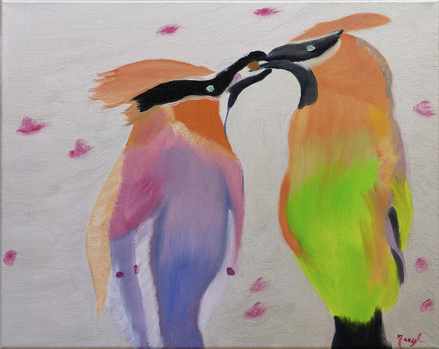 Cedar Waxwing Painting - Sharing The Love by Meryl Goudey