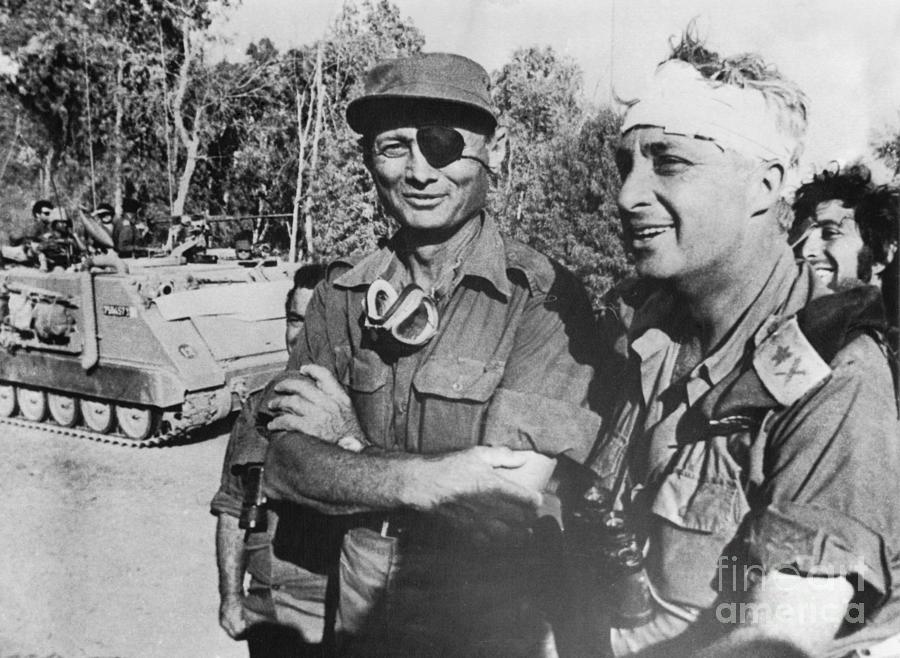 Sharon And Moshe Dayan On West Bank Photograph by Bettmann