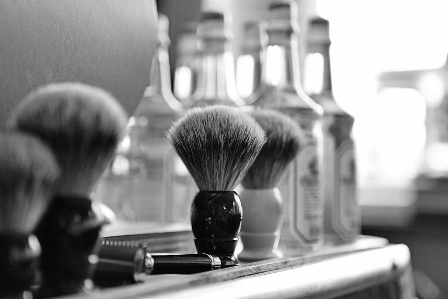 Shaving Brushes At Barbershop Photograph by Lorado