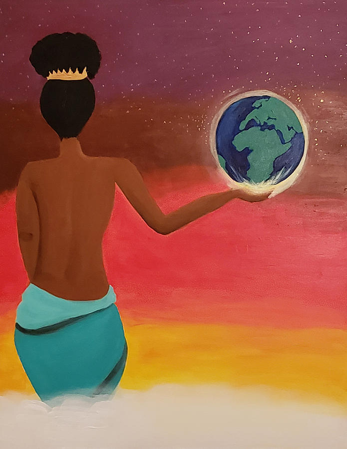 Woman Painting - She Rules The World by Christian Belton