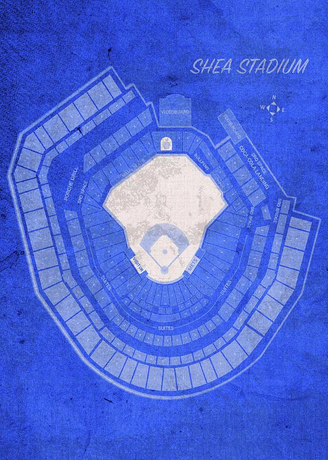 Shea Stadium Mixed Media - Shea Stadium New York Seating Chart Vintage Patent Blueprint by Design Turnpike