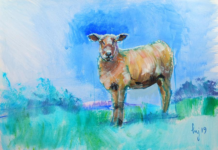 Sheep painting with bright blue and green background by Mike Jory