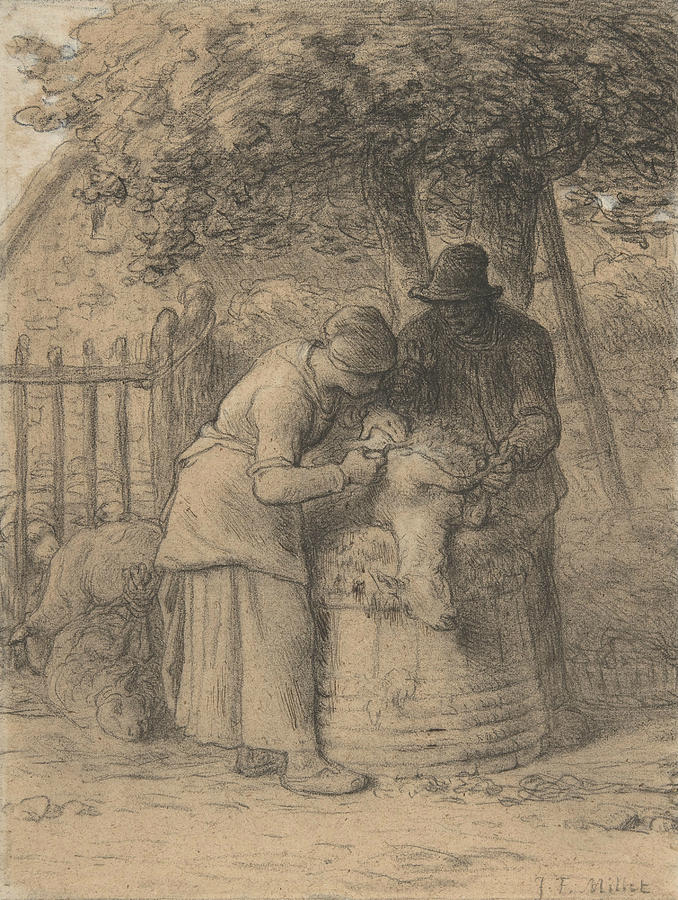 Sheepshearing Beneath a Tree by Jean-Francois Millet