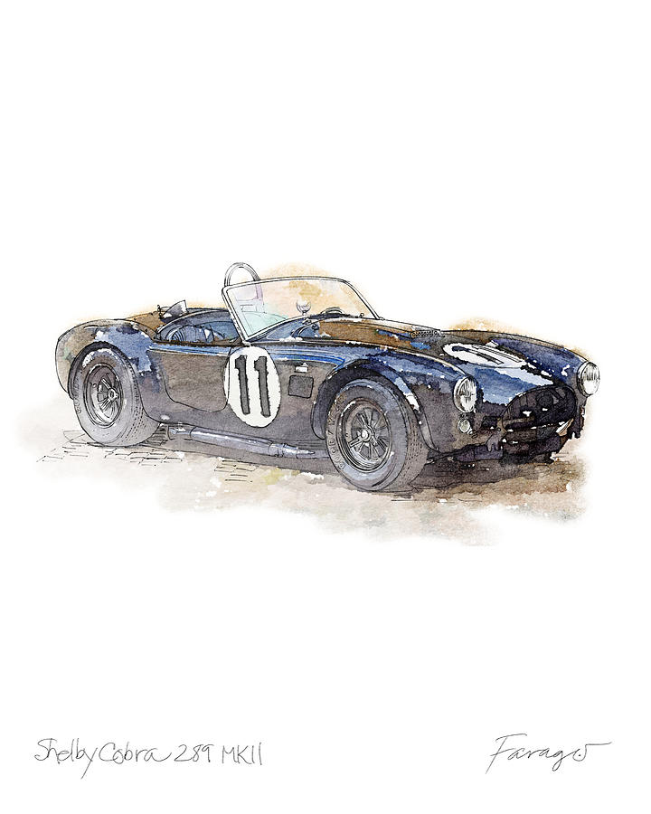 Le Mans Drawing - Shelby AC Cobra 1964 by Peter Farago