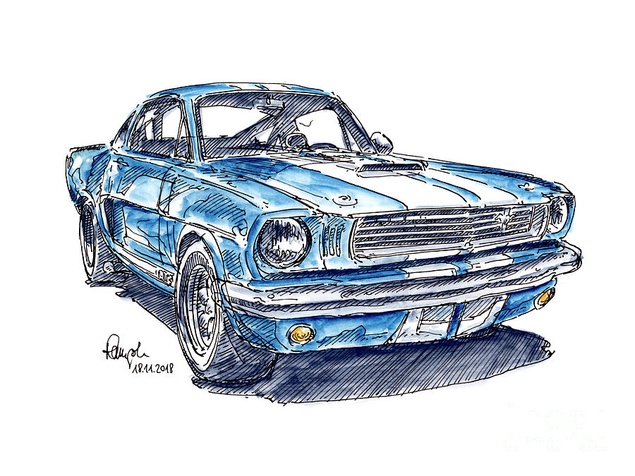 Shelby Mustang Gt350 Classic Car Ink Drawing And Watercolor By Frank Ramspott
