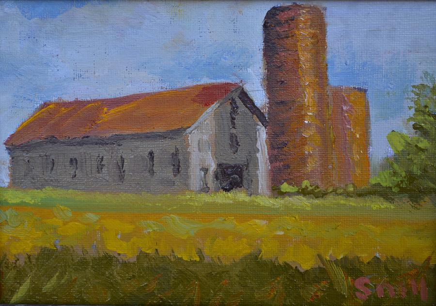 Oil Painting - Shelbyville Silo by Roger Snell