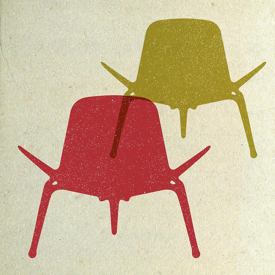 Mid-century Digital Art - Shell Chairs I by Naxart Studio