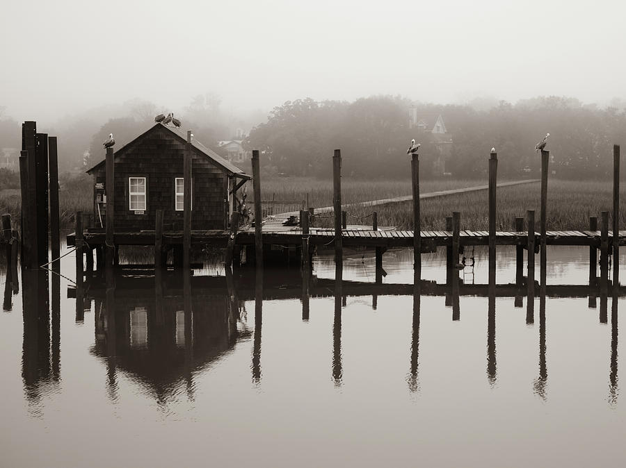 Shem Creek Boathouse Fog by Donnie Whitaker