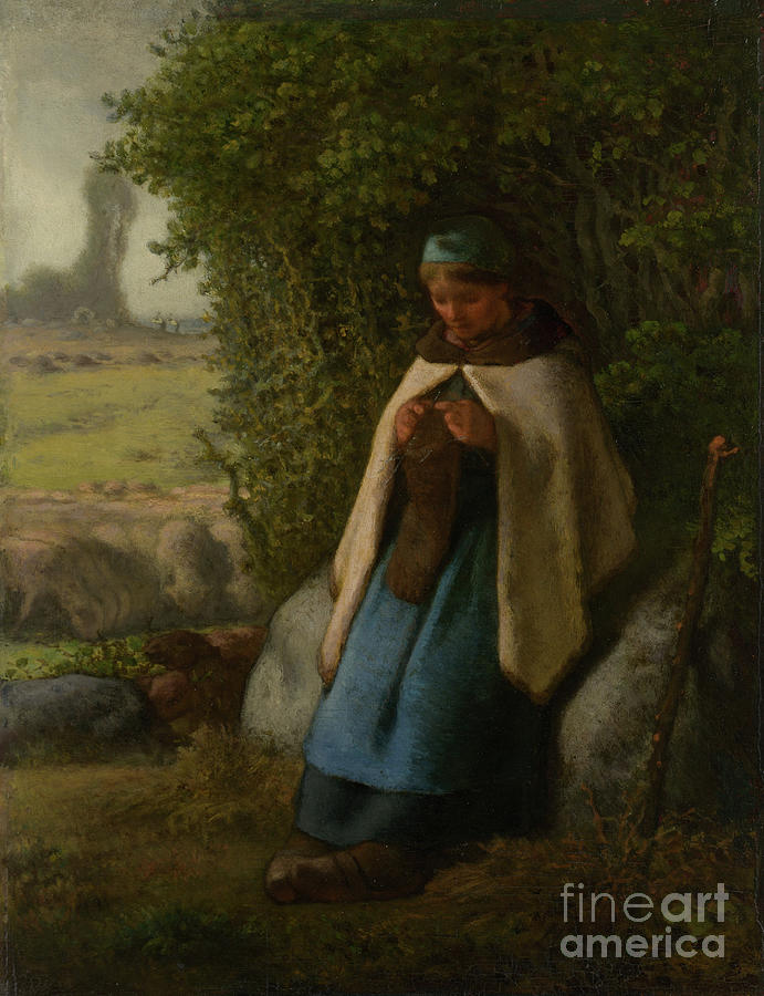 Shepherdess Seated On A Rock Drawing by Heritage Images