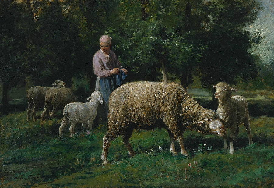 Shepherdess with Sheep by Charles Jacque