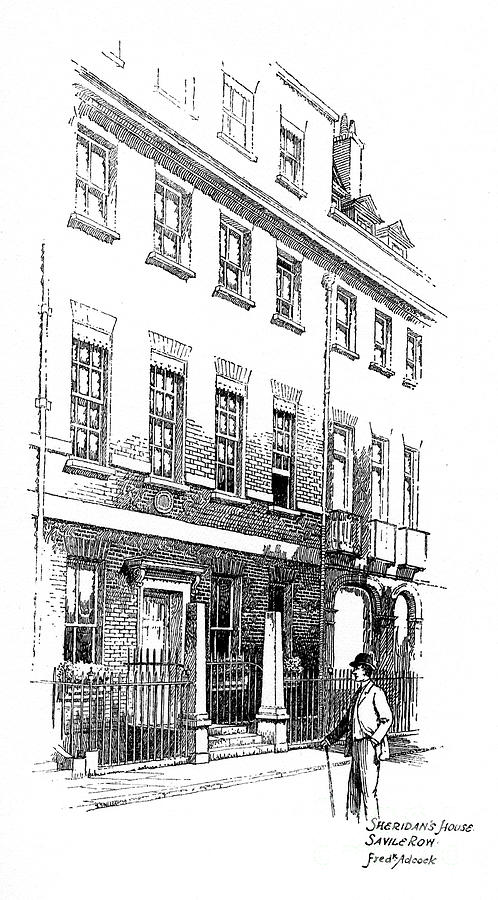 Sheridans House, Savile Row, London Drawing by Print Collector