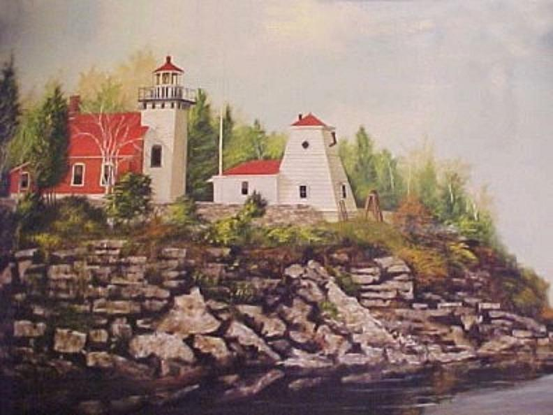 Sherwood Point Lighthouse Wisconsin Painting