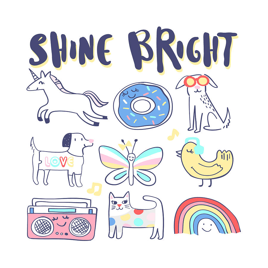 Shine Bright - Baby Room Nursery Art Poster Print by Dadada Shop