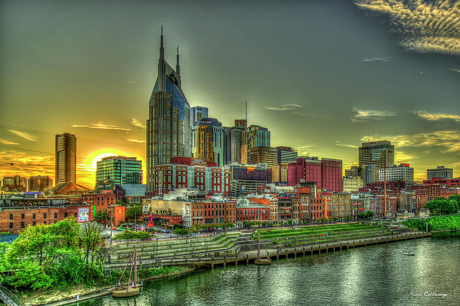 Shine On Me Nashville Resplendent Sunset Broadway Street Nashville Cityscape Art by Reid Callaway