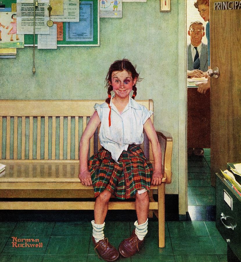 Black Eyes Drawing - Shiner by Norman Rockwell