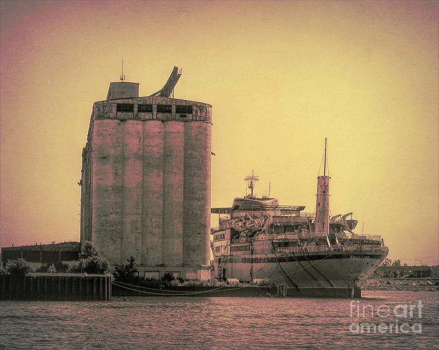 Ship and Grain Elevator in Buffalo New York Sepia Spotlight Effect by Rose Santuci-Sofranko