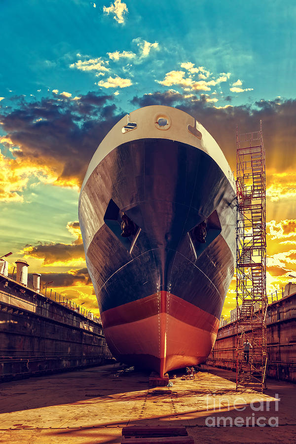 Container Photograph - Ship In Dry Dock At Sunrise - Shipyard by Nightman1965