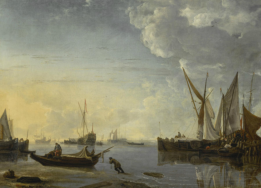 Dutch Painters Painting - Shipping Scene In A Calm At Sunset by Hendrick Dubbels