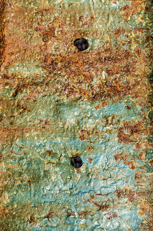 Ship's hull with peeling blue paint, rust and holes by Frans Blok
