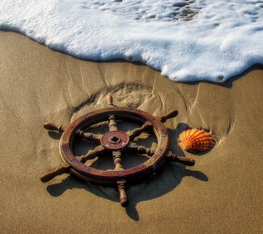 Ships Wheel And Seashell by Garry Gay