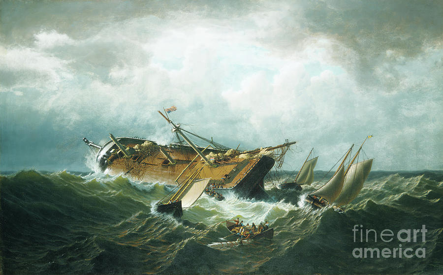 Shipwreck Off Nantucket Wreck Drawing by Heritage Images
