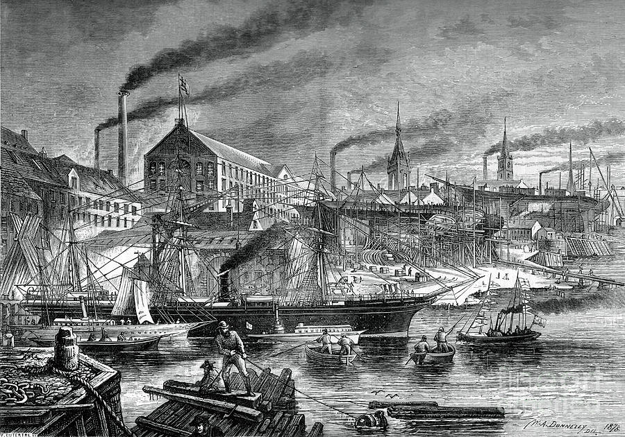 Shipyards And Shipping On The Clyde Drawing by Print Collector