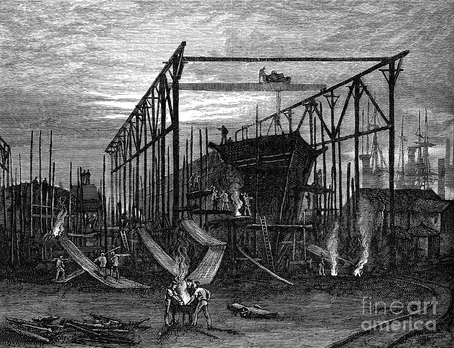 Shipyards On The Tyne, C1880 Drawing by Print Collector