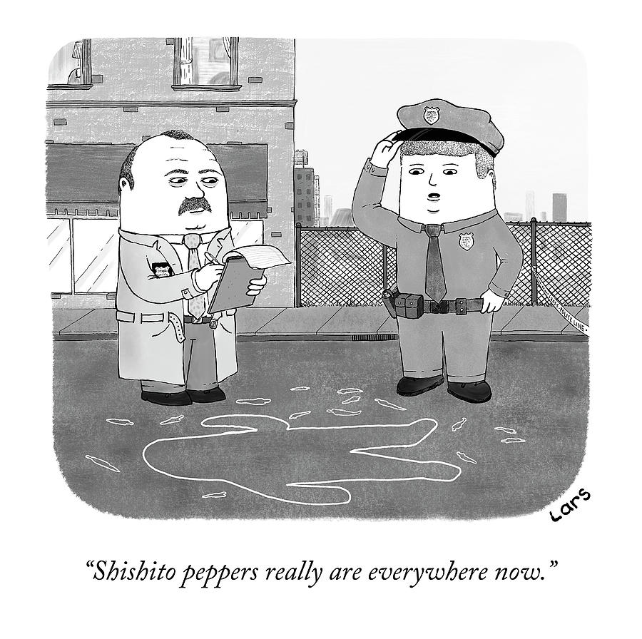 Shishito Peppers Are Everywhere Drawing by Lars Kenseth