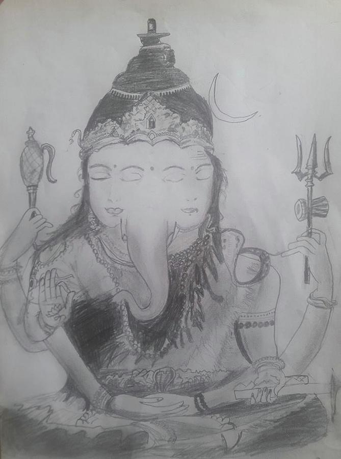 Shiva Parvathi Ganesha Drawing By Aditya Chandrasekhar