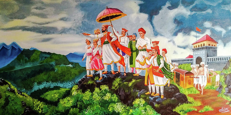 Image result for shivaji maharaj painting