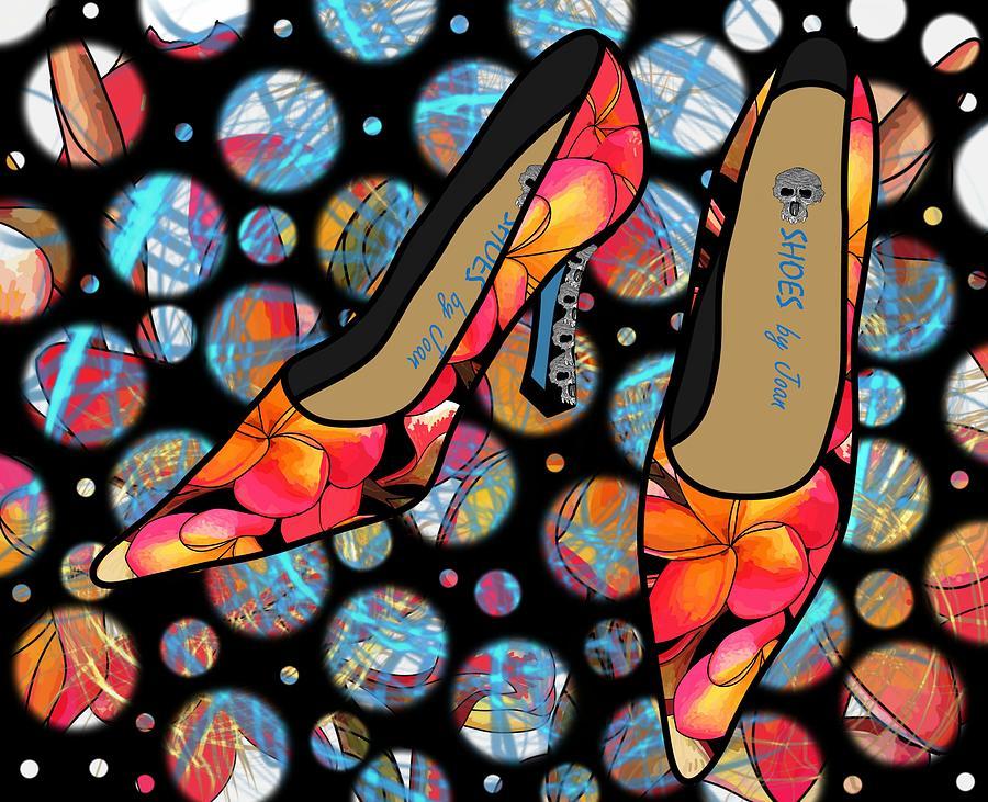 Fashion Digital Art - Shoes By Joan - Frangipani Pattern Pumps by Joan Stratton